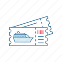 boat, cruise, liner, ocean, ship, ticket, tour icon