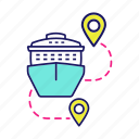 cruise, destination, journey, liner, route, travel, trip icon