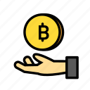 blockchain, coinhand, currency, finance, network icon