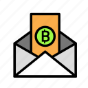 blockchain, currency, envelope, finance, network icon