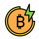 blockchain, currency, finance, network, thunder icon