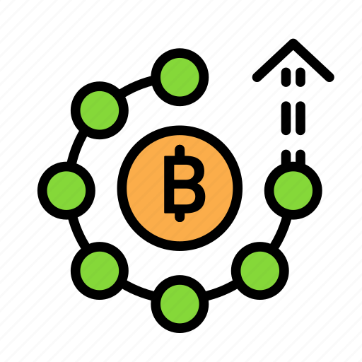 blockchain, currency, finance, network, up icon
