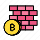blockchain, currency, finance, network, wall icon