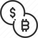bitcoin, crypto, currency, dollar, electronic, exchange, money, peer, signature, to icon