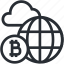 bitcoin, blokchain, cloud, cryptocurrency, line, market, mining icon