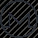 blokchain, cryptocurrency, line, mining, monero, trade, wallet icon