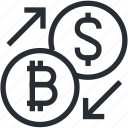 bitcoin, blokchain, convert, cryptocurrency, exchange, line, trade icon