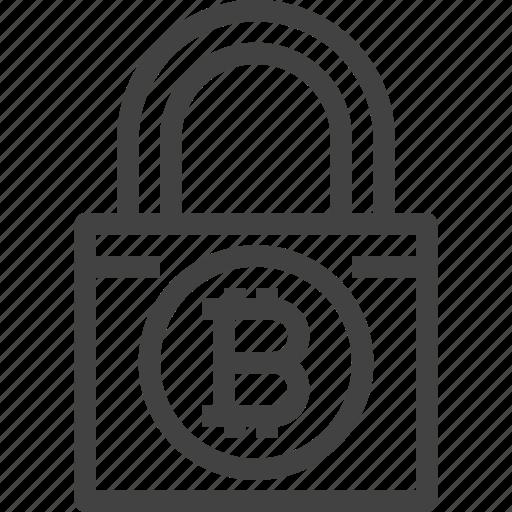 bitcoin, blockchain, cryptocurrency, lock, password, security icon