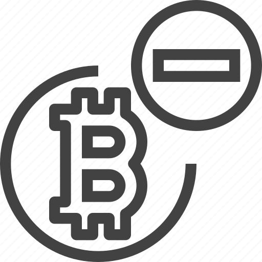 bitcoin, coin, cryptocurrency, reduce icon
