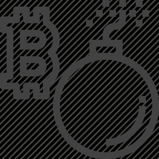 bomb, break, cryptocurrency, finance, money icon