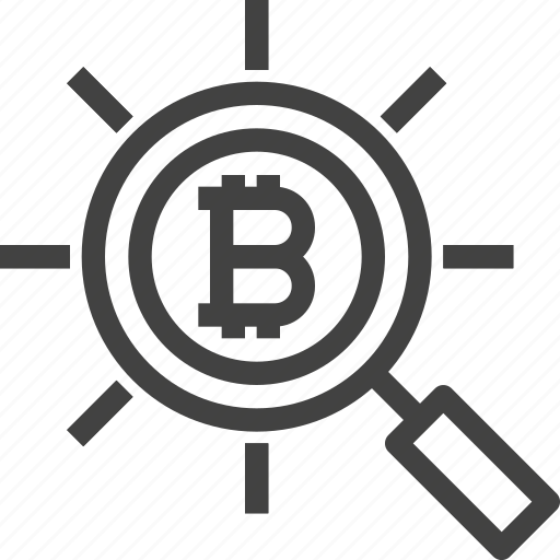 bitcoin, business, cryptocurrency, find, magnifier, search icon