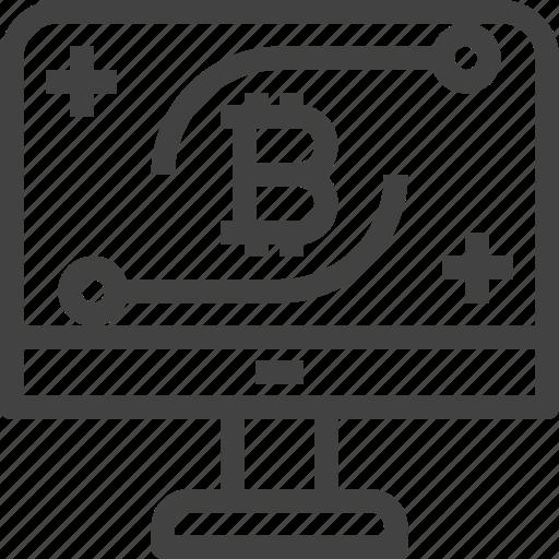 bitcoin, computer, cryptocurrency, desktop, monitor icon