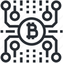 bitcoin, blokchain, cryptocurrency, line, mining, trade, wallet icon