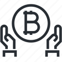bitcoin, blokchain, cryptocurrency, mining, share, trade, wallet icon