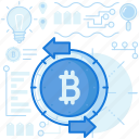 arrows, bitcoin, cryptocurrency, exchange, left, right, transfer