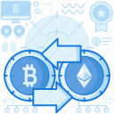 arrows, bitcoin, cryptocurrency, currency, exchange, left, right
