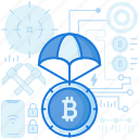 bitcoin, currency, drop, finance, money, parachute