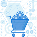 bitcoin, cart, cryptocurrency, currency, ecommerce, money, shopping