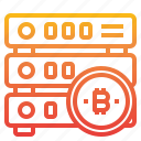 bitcoin, cryptocurrency, database, money icon