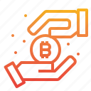 bitcoin, cryptocurrency, income, money icon