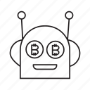 bitcoin, bot, cryptocurrency, digital money, electronic money, finance, robot icon