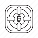 bitcoin, cryptocurrency, digital money, electronic money, finance, lifebuoy, secure icon