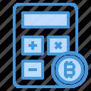 bitcoin, calculator, cryptocurrency, money