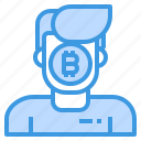 bitcoin, cryptocurrency, money, user icon