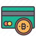 bitcoin, card, credit, cryptocurrency, money icon
