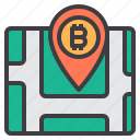 bitcoin, cryptocurrency, location, map, money icon