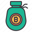 bag, bitcoin, cryptocurrency, money icon