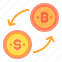 bitcoin, cryptocurrency, exchange, money icon