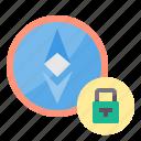 bitcoin, cryptocurrency, money, password icon