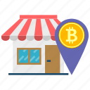accepted, bitcoin, building, cryptoicons, market, shop, store icon