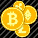 alt, bitcoin, coins, cryptoicons, litecoin, money, ripple