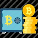 bitcoin, coins, cryptoicons, safe, stack, storage