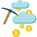 bitcoin, cloud, cryptoicons, mining, pickaxe icon