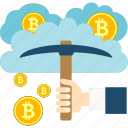 bitcoin, cloud, cryptoicons, hand, mining, money, pickaxe icon