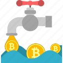 bitcoin, business, coins, cryptoicons, faucet, money, pipe icon