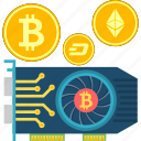 bitcoin, cryptocurrency, cryptoicons, gpu, mining, money, video card icon