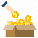 bitcoin, box, coin, cryptoicons, hand, ico, money icon