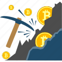 bitcoin, coin, cryptocurrency, cryptoicons, mining, pickaxe icon