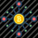 bitcoin, blockchain, cryptoicons, digital, node icon