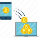 bitcoin, cryptoicons, device, laptop, smartphone, transaction icon