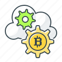bitcoin, cloud, cloud mining, cryptocurrency, make money, mining icon