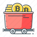 bitcoin, coin, cryptocurrency, mining, trolley icon