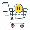 bitcoin, cryptocurrency, pay, pay off, trolley icon