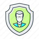 account, private, profile, protection, secure, security, shield icon