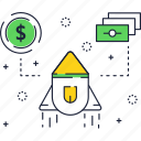 dollar, launch, money, rocket, sign, startup, thin icon