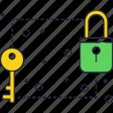 key, line, lock, locker, security, thin icon